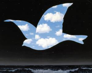 The Kiss by Rene Magritte. This is my most favorite painting; I saw it in the MFA in Houston and fell in love with it.